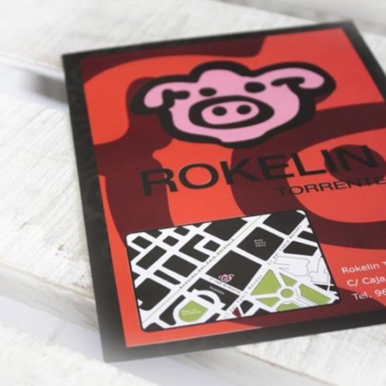 Flyer Rokelin. Diseño promocional restaurante.