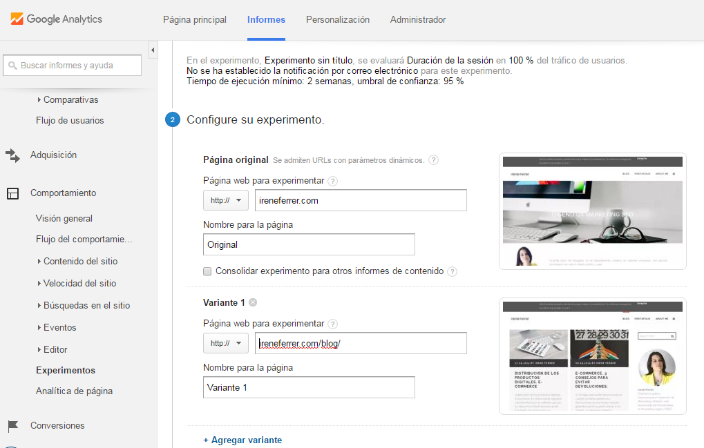 Google analytics - hacer test A/B usabilidad
